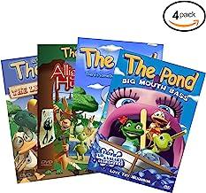 《池塘生活》4 包 DVD 套装 - 鳄鱼猎人、小事、大嘴巴鲈鱼和有什么有趣的 水中儿童 DVD - 基督教电影教学儿童教孩子的Godly 价值与人物