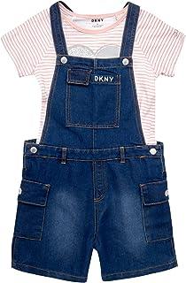 DKNY 女童背带裤套装 - 弹力牛仔连衣裤带短袖 T 恤