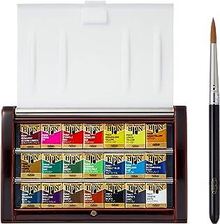 Holbein 固体水彩颜料 艺术家块状颜料 21色套装 越前漆涂制 PN695 半块颜料