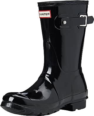 Hunter 女式黑色惠灵顿靴 Black (Original Short Gloss Wfs1000rgl) 4 UK