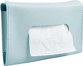 GORGECRAFT 汽车纸巾架遮阳板餐巾盒 PU 皮革后座纸巾盒悬挂纸毛巾夹纸箱(蓝色)