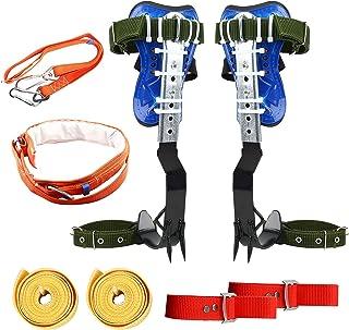 TWSOUL 新款可调节树钉套装 2 个齿轮带*带,304 不锈钢树攀岩工具防滑踏板,适用于采摘水果、室内和室外运动