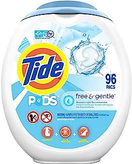 Tide 汰渍 轻柔洗衣珠,96粒,无气味,低致敏性,适用于敏感皮肤,不含染料和香料,与HE兼容(包装可能有所不同)