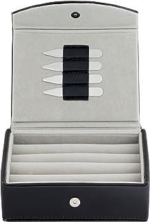 男式皮革旅行袖扣收纳盒带 2 对金属领插竹 - 可容纳 9 至 12 双