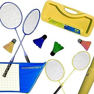 羽毛球套装 – 便携式羽毛球套装带网,4 个球拍和 2 个 LED 飞球球球网,弹出式排球网 – 高级户外游戏家庭 – 可折叠可调网带手提箱