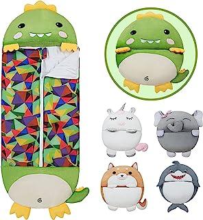 儿童睡袋舒适卡通填充动物睡袋带枕头可爱恐龙幼儿礼物四季中号尺寸 54 英寸 X 20 英寸