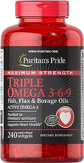 Puritan's Pride 普丽普莱 快速释放软胶囊,三重欧米茄3-6-9鱼,亚麻和琉璃苣油,补充欧米茄酸性油脂,消除汞,支持心脏,240片