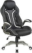 OSP Designs Xplorer 51 人体工程学可调节高背游戏椅,黑色仿皮,带白色饰边