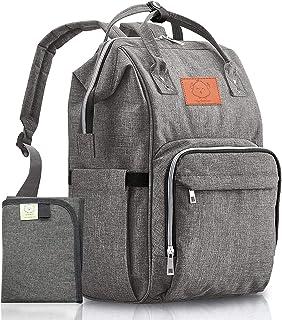 KeaBabies 带尿布袋背包-大型防水旅行背包(经典灰色)