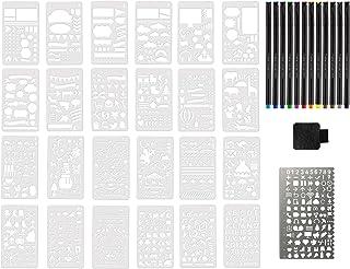 34 件塑料日记模板套件规划器模板日历模板 12 支彩色笔 精细笔尖 模板 尺子 金属模板 笔环 适用于规划 粘合笔筒