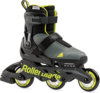 Rollerblade Microblade Free 3WD 儿童尺寸可调节内联滑冰,煤灰色和石灰,高性能直排轮滑
