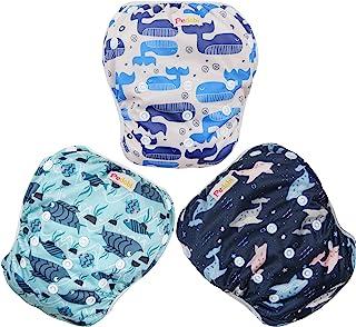 Pedobi 可重复使用的婴儿游泳尿布,可调节尿布游泳,适合 9 个月 - 3 岁幼儿,3 件装用于游泳课程(海豚,大号)