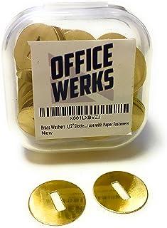 黄铜垫圈用于纸张紧固件/芯钉,1/2 英寸开槽,一盒 100 个