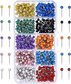 500 件地图推销销地图钉塑料圆头钉带钢点 10 种颜色(1/8 英寸)