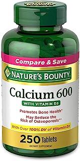 Nature's Bounty 钙加维生素D营养片,有益于身体,600mg钙和800IU维生素D3,250粒