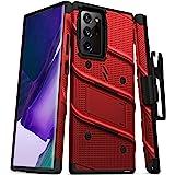 ZIZO Bolt 系列適用于 Galaxy Note20 Ultra 手機殼帶屏幕保護膜支架皮套掛繩 - 紅色和黑色