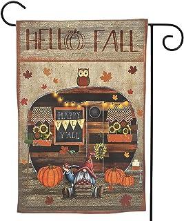 Hello Fall Camper 拖车花园旗帜南瓜小矮人向日葵院子旗帜双面苹果猫头鹰枫木快乐秋季 Y'All House 秋收感恩节万圣节横幅 12×18 英寸