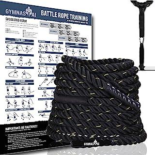 Blackstar 战斗绳 带可折叠海报和锚套件 全身锻炼设备 适用于交叉训练、家庭健身房和健身锻炼 PolyDac 力量战斗