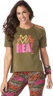 Zumba 女式露肩运动时尚印花设计 T 恤