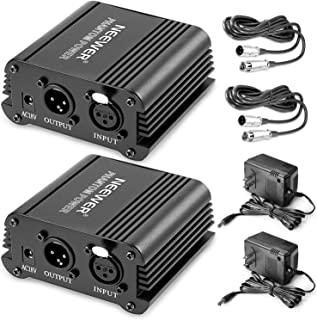 Neewer® 2 件装 1 个通道 48V 幻影电源黑色带适配器和 XLR 音频电缆,适用于任何电容麦克风音乐录音设备