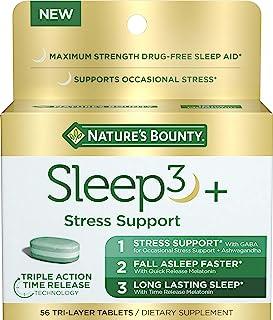Nature's 赏金睡眠 3+,含南非醉茄和 10 毫克褪黑激素,偶尔缓解压力,56 片
