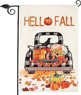 Unves 秋季国旗 28 x 40 双面,Hello Fall House 旗帜水牛格子南瓜装饰粗麻布,秋季感恩节花园庭院门廊户外装饰