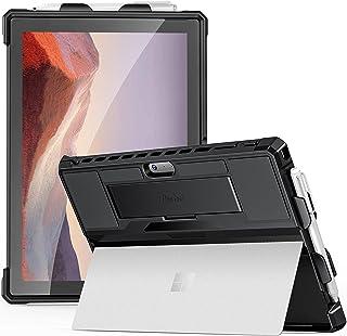 ProCase Surface Pro 7 Plus、Pro 7、Pro 6、Pro 5 (2017),Pro 4、Pro LTE 12.3 英寸保护套,坚固保护盖,带笔筒和手带,兼容Type Cover 键盘,支架 - 黑色