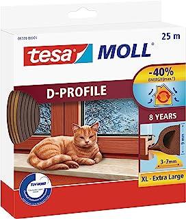 tesa UK 05389-00001-00 tesamoll D 型密封 - 自粘橡胶排水管排除器 用于窗户和门绝缘间隙 - 棕色 - 25 米 x 9 毫米