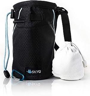 SKYG 攀岩粉笔袋,带可填充的粉笔球,腰带,登山扣夹,刷环和拉链口袋,用于攀岩,石块,体操,交叉贴合和举重