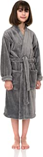 TowelSelections 女童长袍,儿童毛绒和服羊毛浴袍