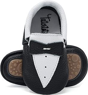 Tatertots 婴幼儿莫卡辛鞋,真皮软底橡胶抓地鞋 - 12-18 个月和 18-24 个月