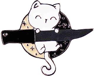 GSM Brands 微笑的忍者猫和刀具珐琅翻领别针