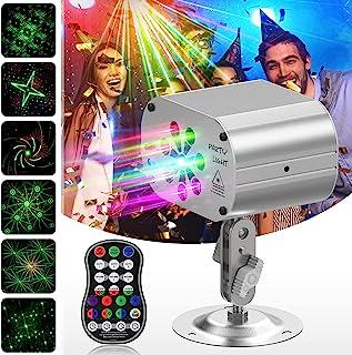 无线派对灯 Dj Disco 灯 内置电池 声音激活投影仪舞台频闪灯 带遥控器 适用于派对 圣诞节 万圣节婚礼灯 (银色)