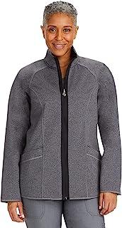 Healing Hands Knits 女式 Brooklyn 夹克 – 双面拉链磨砂膏, 麻灰色 / 黑色, 3X-Large