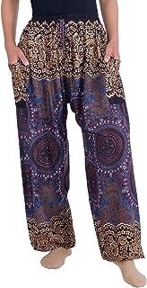 Lannaclothesdesign 女士玫瑰抽绳流苏宽松修身哈伦风格长裤