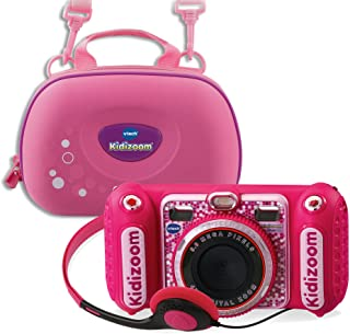 VTech 伟易达 80-520099 80-520099-KidiZoom Duo DX 包括手提袋 粉色 儿童相机
