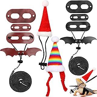 圣诞胡子龙牵绳圣诞老人帽子套装包括 2 套胡子龙背带蜥蜴可调节牵引绳,2 件蜥蜴圣诞服装,胡子龙圣诞帽,适合爬行动物圣诞节