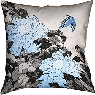 """ArtVerse HOK055P1414C 宝石和蝴蝶带蓝色装饰枕头 26"""" x 26"""" HOK055P2626C"""