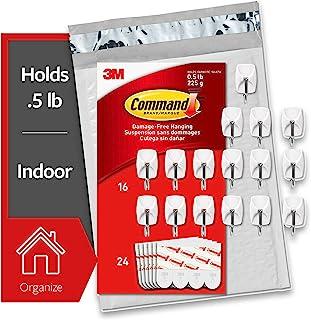 Command by 3M 无损小线钩,白色,可承重 0.5 磅,不含工具,超值装,易开封包装 白色 16 Hooks GP067-16NA