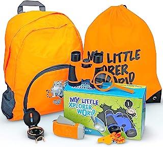 *版户外探险套装,带儿童玩具双筒望远镜,户外玩具包括放大玻璃、手电筒、指南针、口哨、男孩或女孩徒步背包,适合 6 岁以上儿童(橙色)