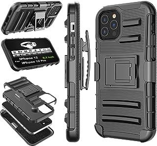 Tekcoo 兼容 iPhone 12 Max 手机壳(6.1 英寸)iPhone12 Max 皮套皮带,[Hoplite] 减震*旋转锁定带,全身支架携带坚固的手机壳 [黑色]