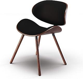 SIMPLIHOME Marana 软垫餐椅 黑色人造革和实木 圆形 餐厅用 中世纪现代