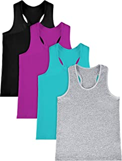 SATINIOR 4 件套女孩舞蹈背心棉质工字背心露脐背心无袖上衣适用于体操和舞蹈服
