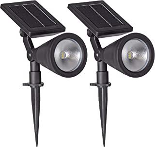 Sterno Home GL40460 户外太阳能LED黑色灯套装,地面或墙上可安装,景观防水*照明,带可调节聚光灯,适用于露台、门廊、甲板、花园、泳池- 2 件装