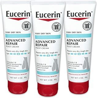 Eucerin Advanced Repair 护足霜-无香料,适用于双脚的乳液,适合非常干燥的皮肤-3盎司(85克)/ 管(3管)