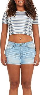 V.I.P.JEANS 女式牛仔短裤百慕大破洞青少年修身款