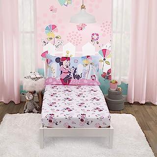 Disney Minnie Mouse - Minnie in Pink 2 件套幼儿床单套装 - 床笠和双面枕套,粉色,水*,白色,