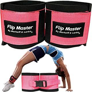 Flip Master 脚踝绑带翻滚训练器   体操和啦啦队设备适用于背部翻转/扣和手铐形式   可调节带适合女孩、男孩和成人  用于欢呼、舞蹈和体操
