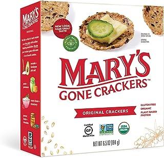 Mary's Gone Crackers 原创饼干,*糙米、亚麻籽和芝麻籽,不含麸质,6.5 盎司(约 184.3 克)(6 件装)