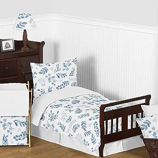 Sweet Jojo Designs 花卉叶男孩女孩幼儿儿童床上用品套装 - 5 件套被子、枕套和床单 - 蓝灰白色波西米亚水彩植物花林地热带花园